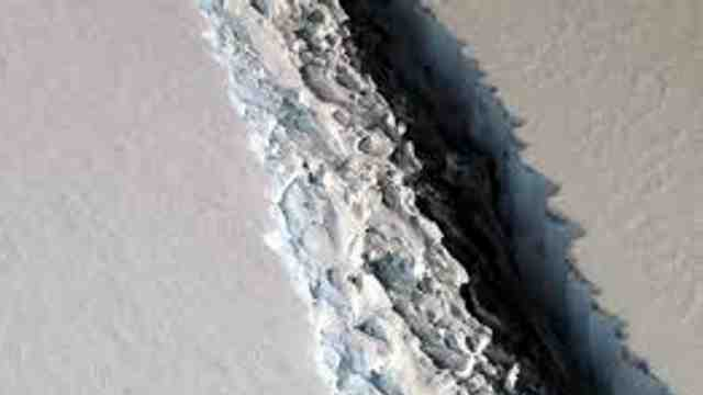 Crack forming in ice shelf