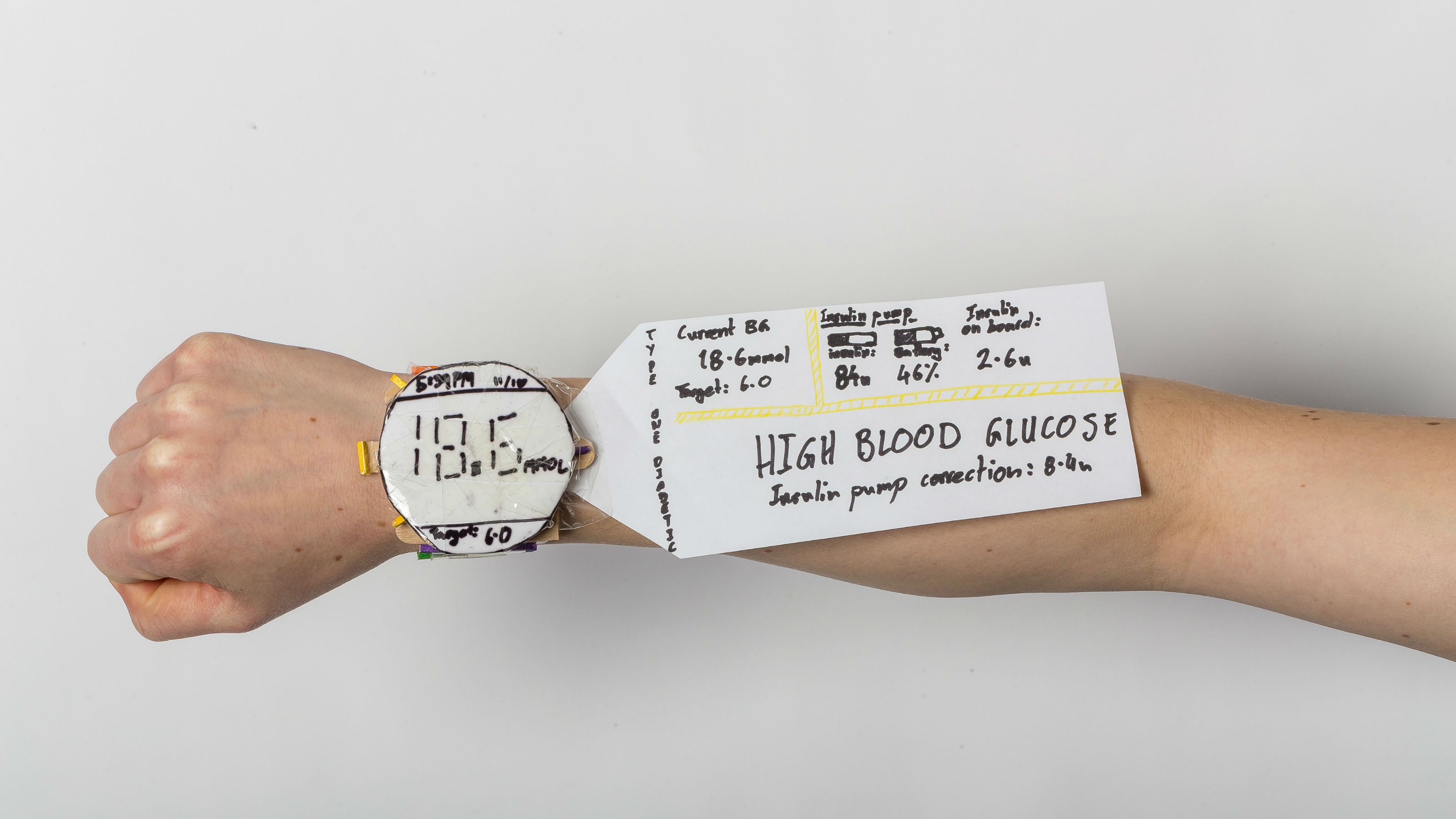 Arm wearing a watch design constructed of paper, with a paper information panel emerging from the side.