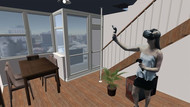 Virtual interior being explored by avatar