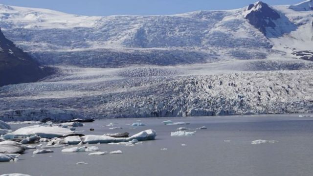 A Greenland ice sheet meets the ocean.