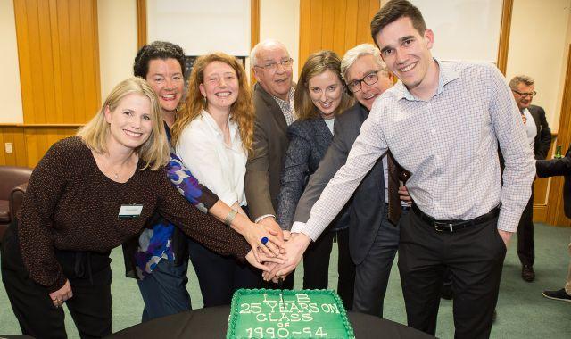 A group at the reunion from left to right – Belinda Moffat, Penelope Borland, Melissa Harward, Professor David McLauchlan, Victoria Heine, Edward Cox, Fletcher Boswell.