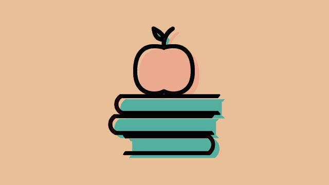 This icon depicts an apple sitting on top of a three books.