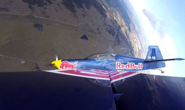 Conrad Reyners flying in a Red Bull stunt plane