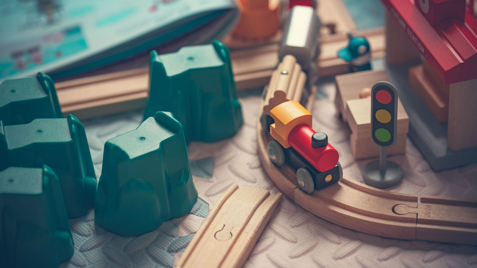 A wooden trainset.