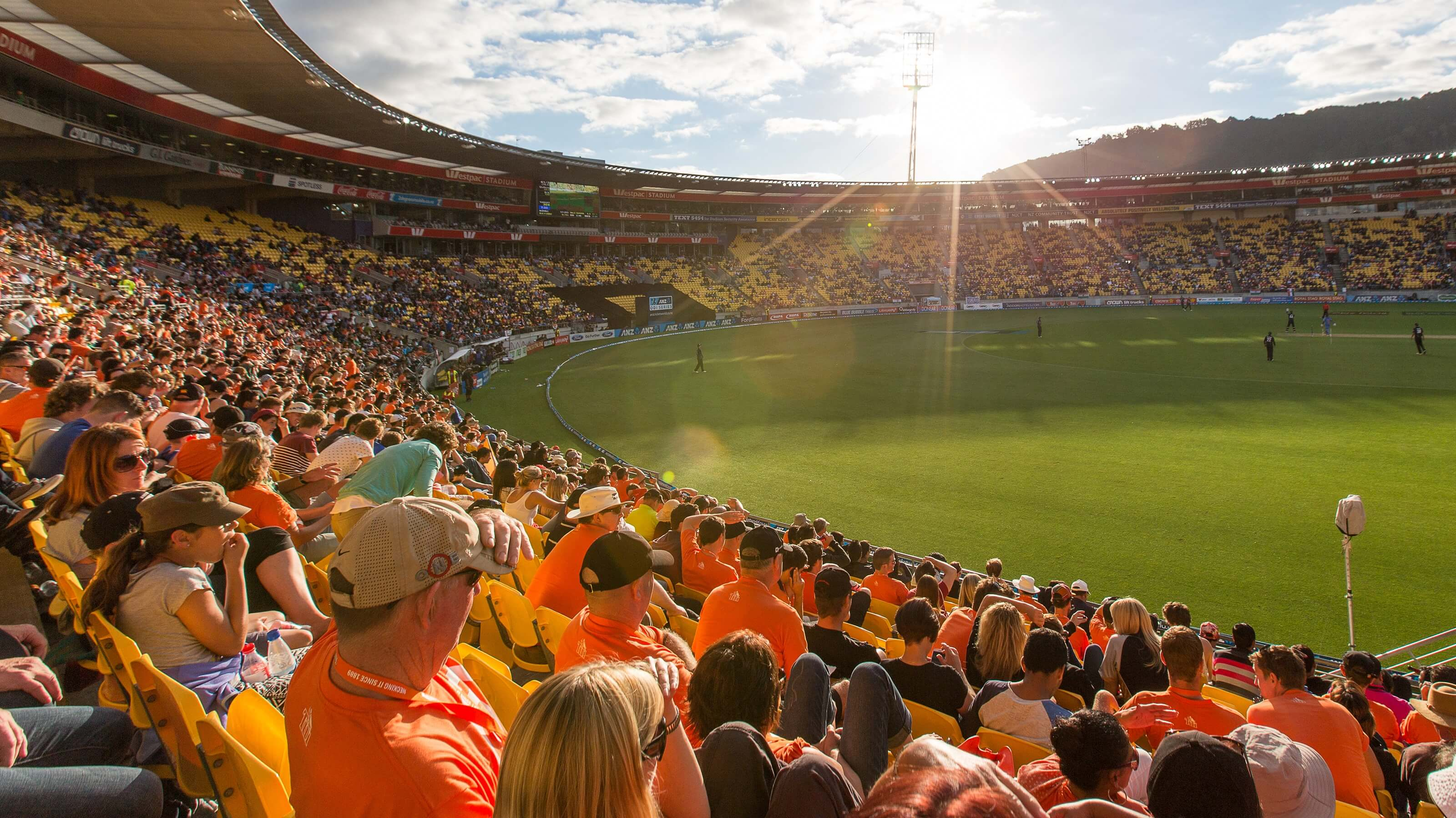 Crowd of people watching sporting match live from Westpac Stadium in Wellington.