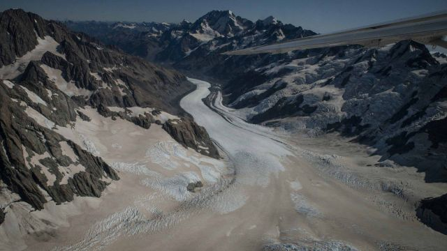 Glaciers covered in ash. Photo provided by NIWA.