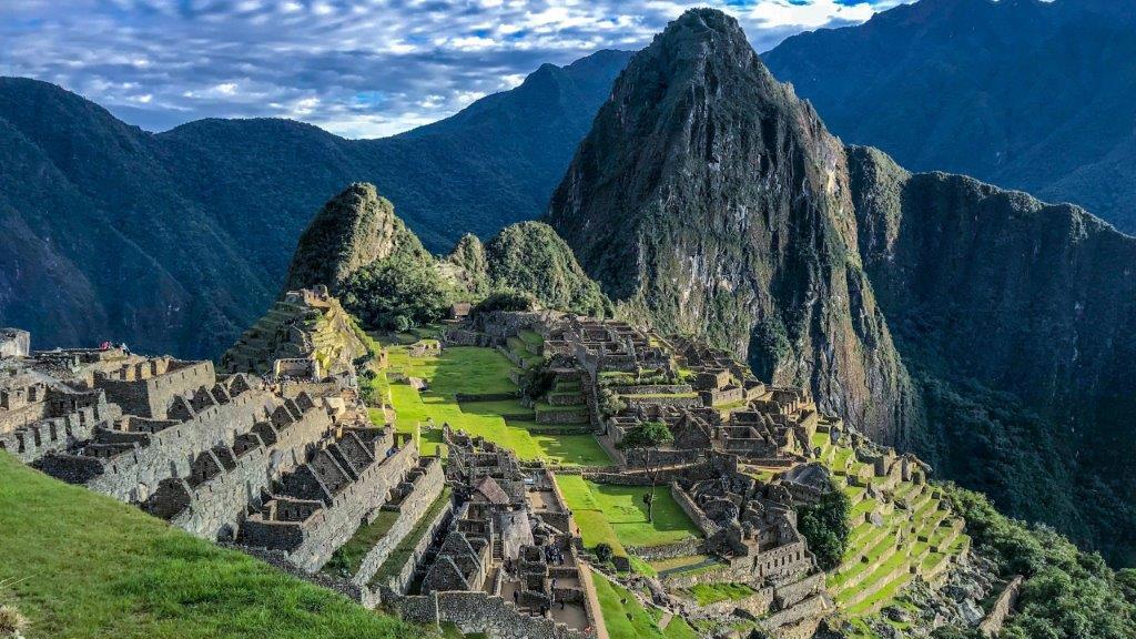 View of Machu Picchu in the Peruvian Andes.