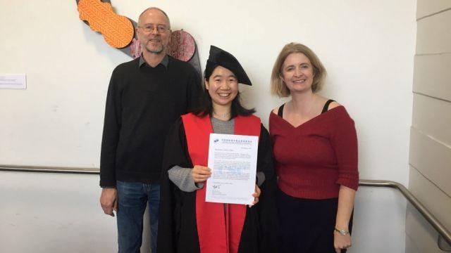 Dr Mengzhu Yan (centre) with her PhD supervisors Professor Paul Warren and Dr Sasha Calhoun