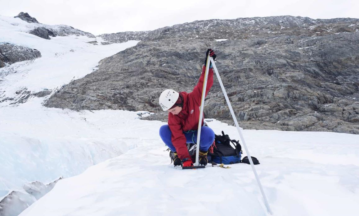 Dr Lauren Vargo conducting research on New Zealand glaciers. Photograph: Brian Anderson.