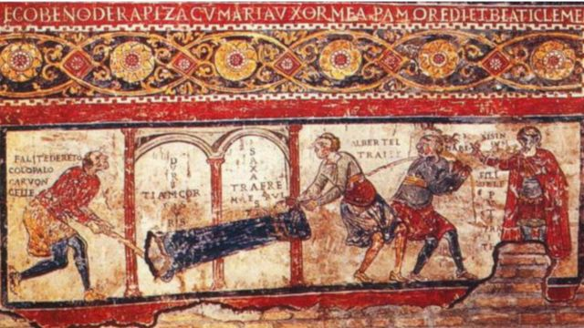 a late eleventh-century fresco known as 'Iscrizione di San Clemente' in the Church of St Clement, Rome