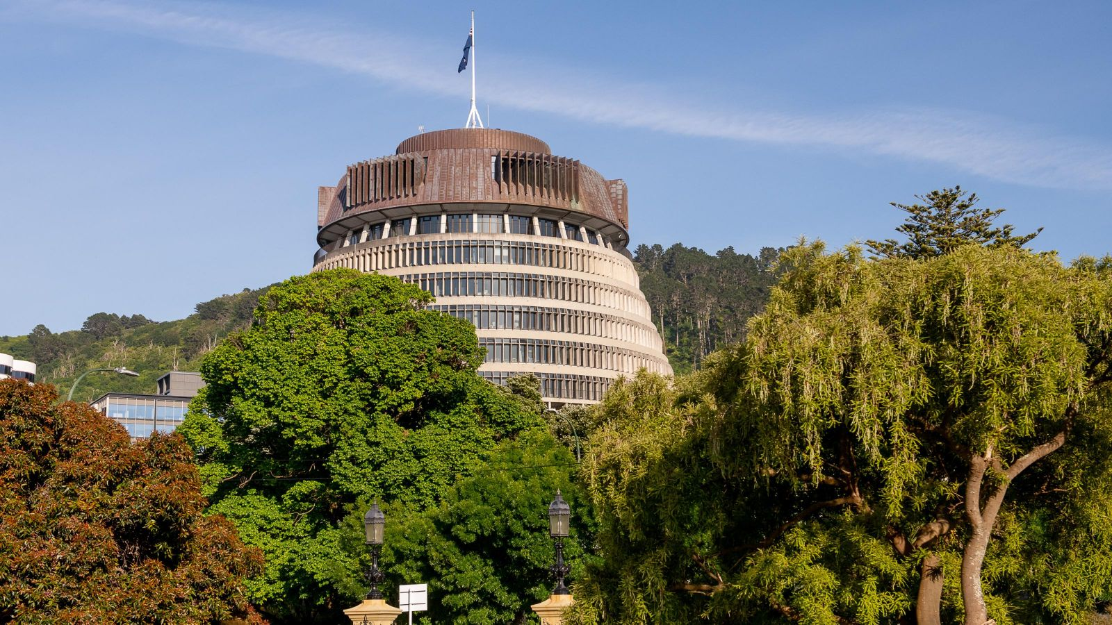 View of the Beehive (NZ parliament) from the Old Government Buildings