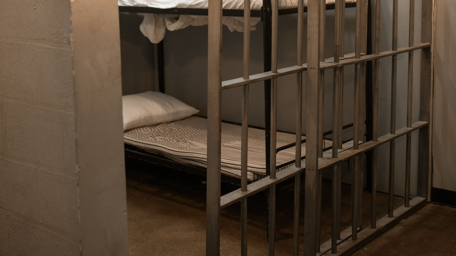 Prison cell showing bunk beds