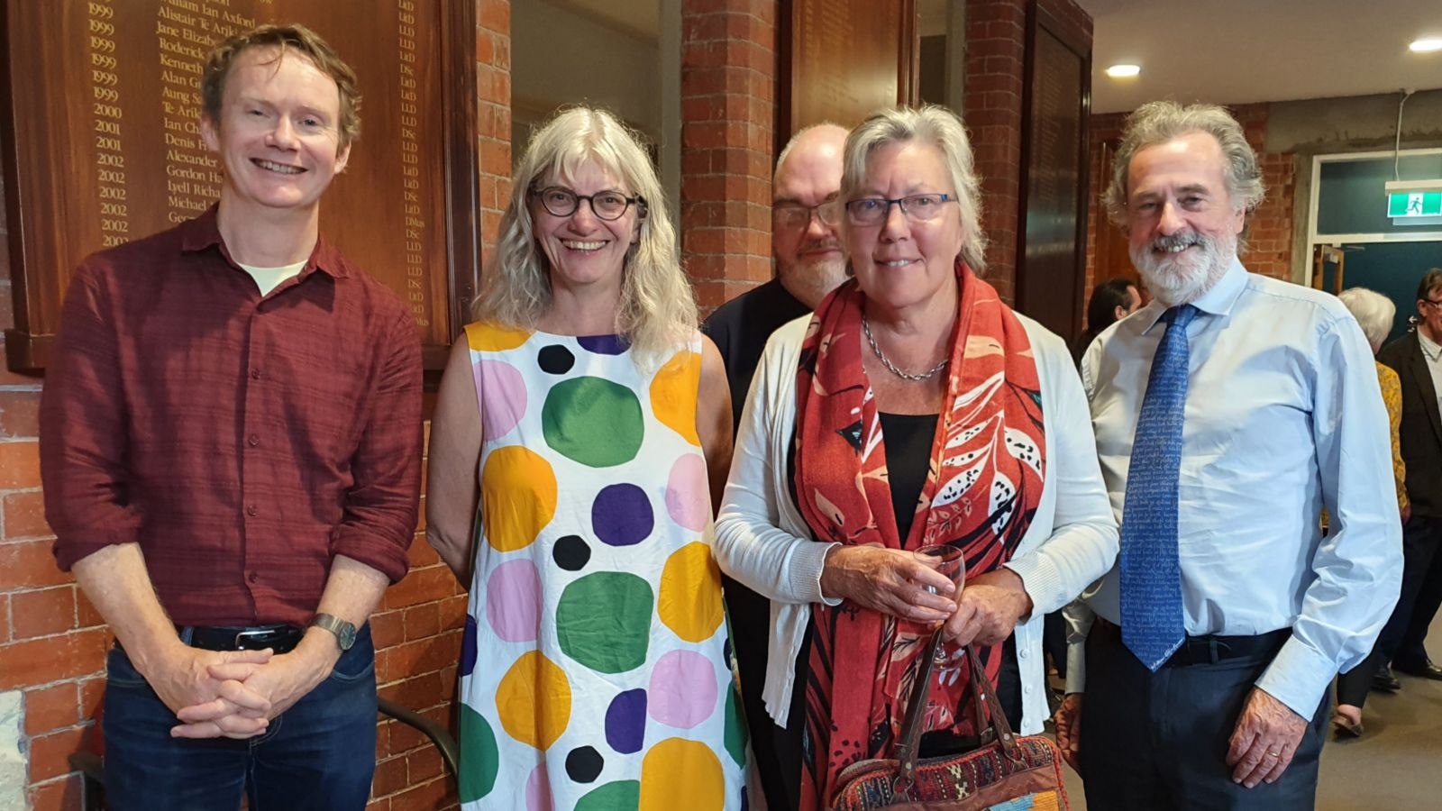 University staff gathered to farewell Emeritus Professor Heidi Thomson in the Hunter Common Room earlier this year. Pictured L-R: Damien Wilkins, Emeritus Professor Heidi Thomson, Geoff Miles, Emeritus Professor Kathryn Walls and Professor Peter Whiteford.