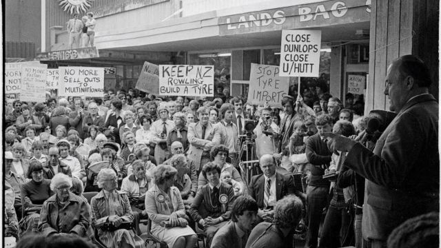 Sir Robert Muldoon speaking to an election meeting in 1981 about the Dunlop factory, now Brewtown, in Upper Hutt.