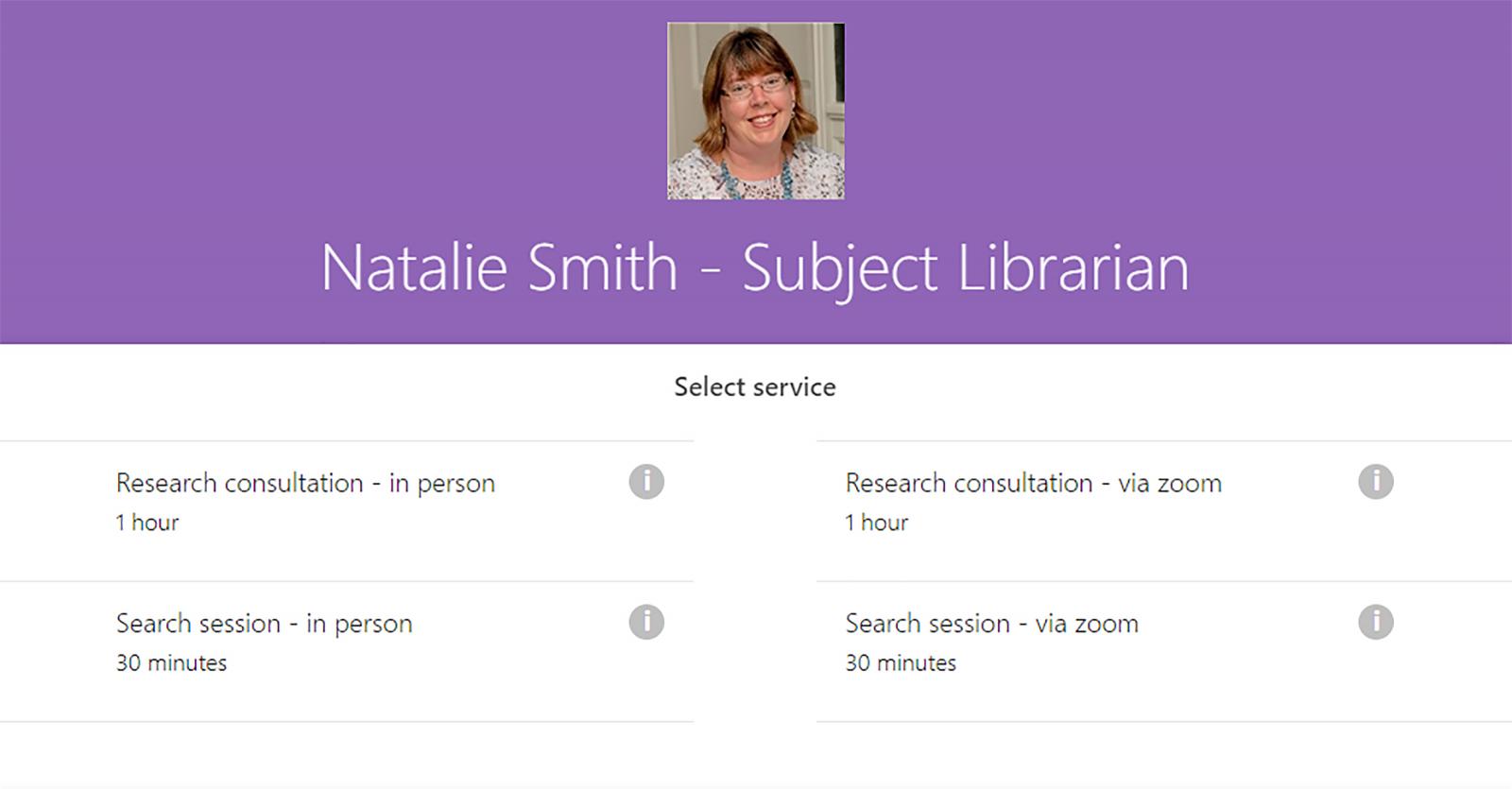 Screenshot of Natalie's subject librarian calendar