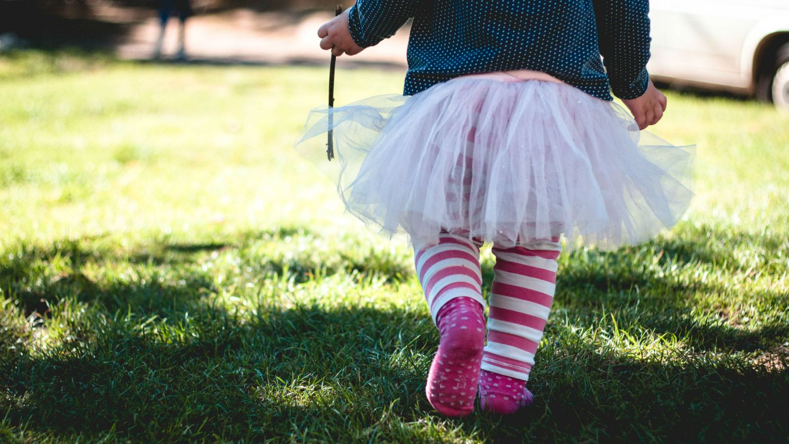 A little girl in a fairy dress and pink socks, walks across grass without shoes holding a small stick.
