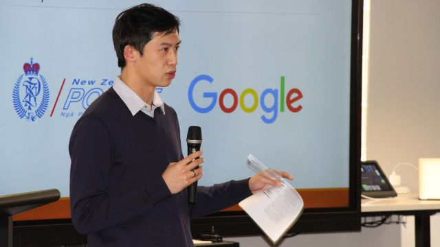 Cameron Lai gives his presentation on the risks of personalised search results