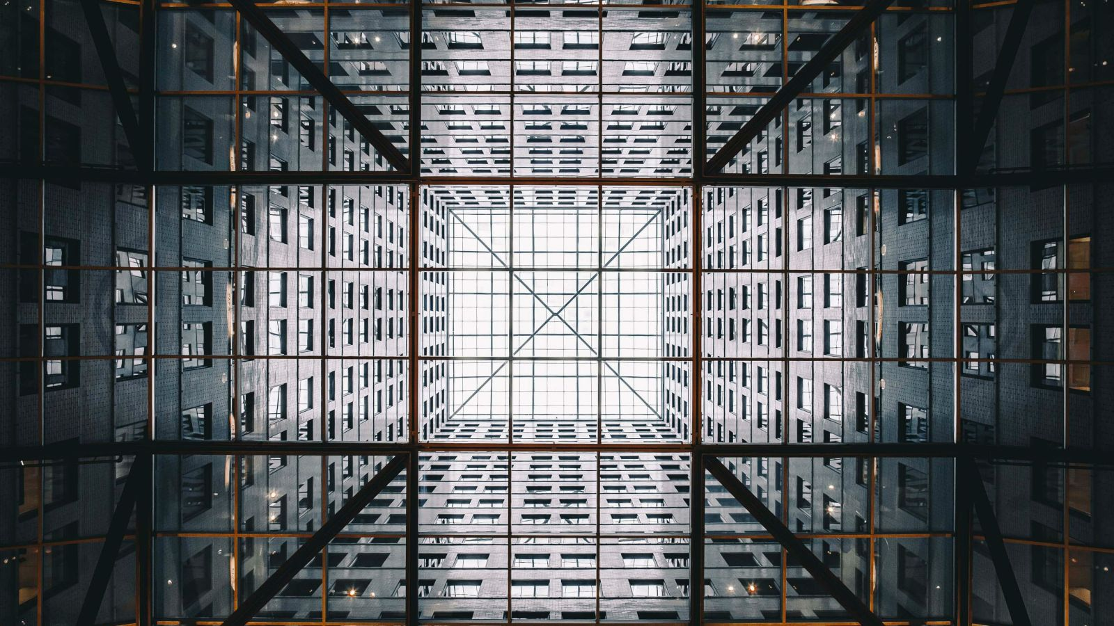A perfect grid within a building's architecture.