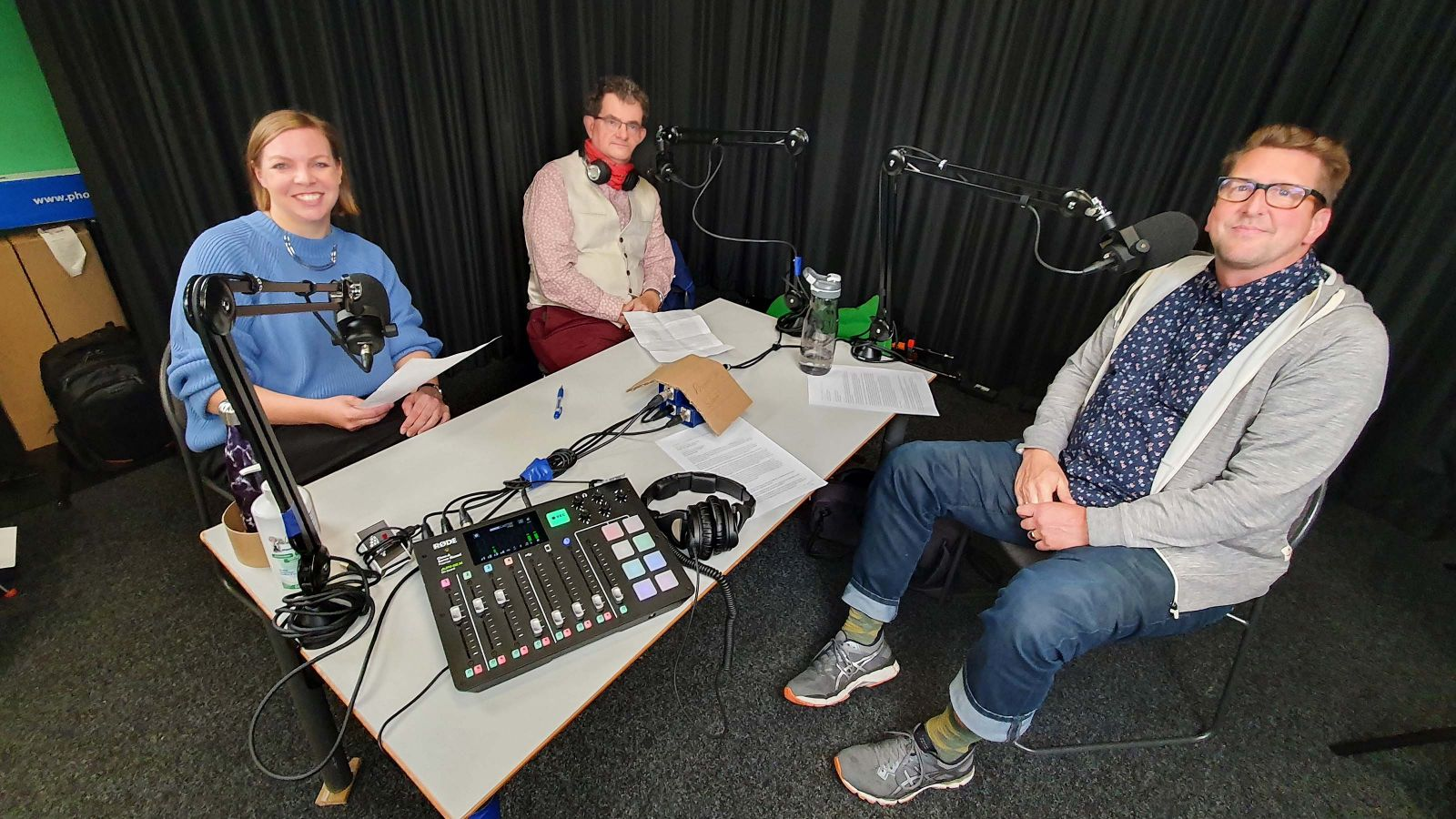 Dr Ina Reichenberger, Assosciate Professor Ian Yeoman, and Associate Professor Christian Schott at the recording session for the podcast