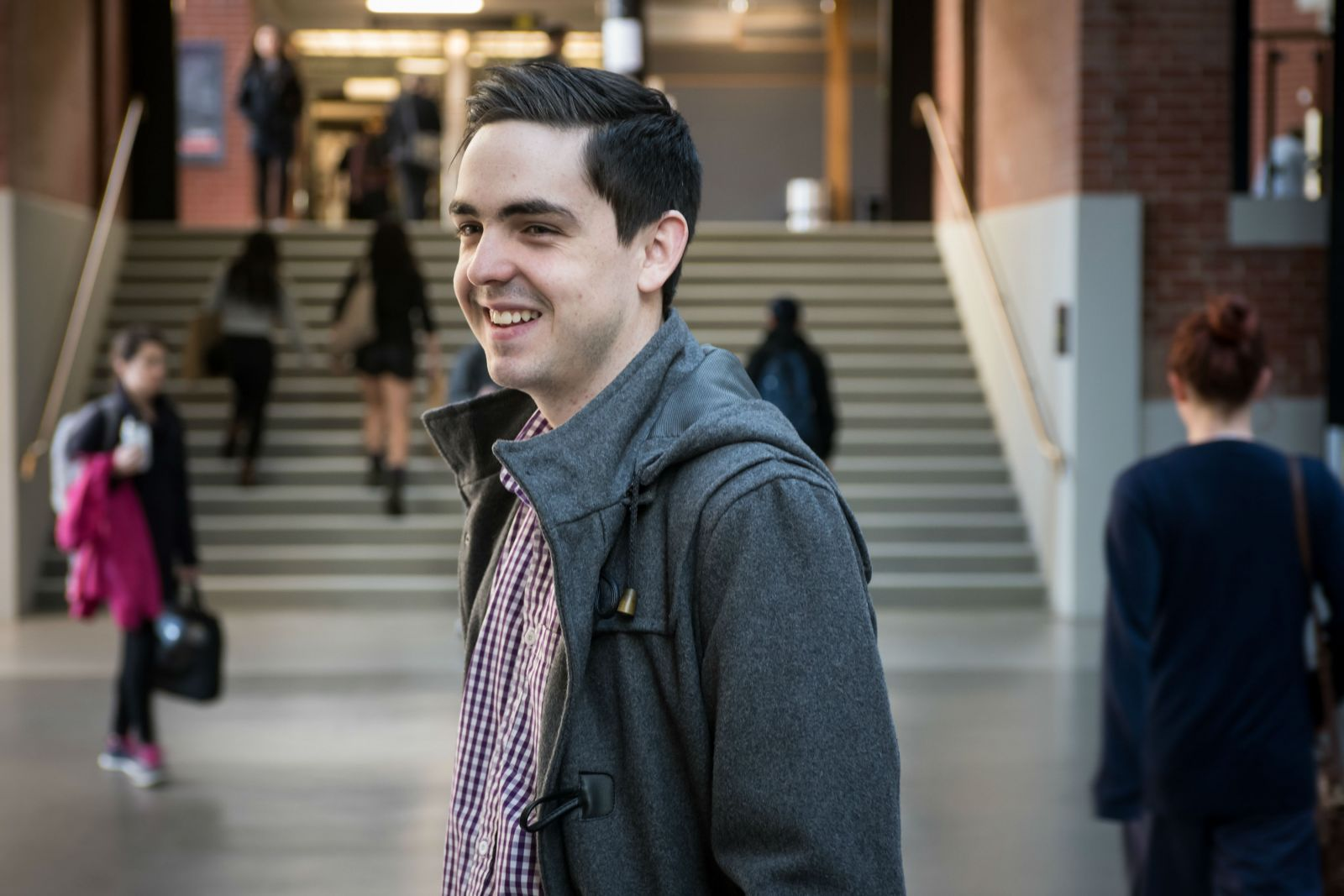 Ross Engelbrecht standing in the Hub on Kelburn campus