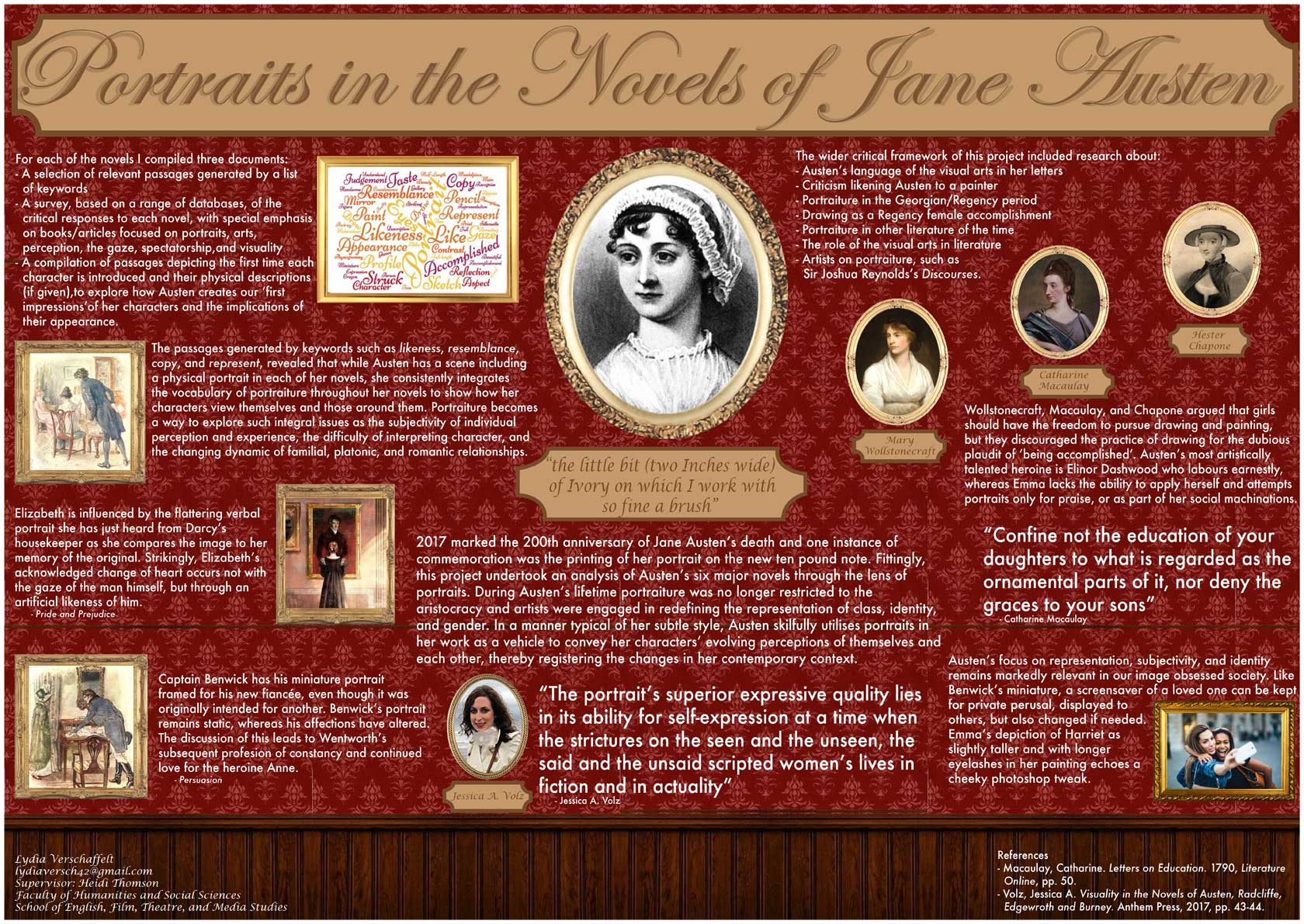 Poster examining the portraits in the novels of Jane Austin.