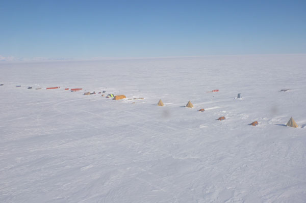 WISSARD field camp. The camp is laid our orthogonal to the prevailing wind direction to prevent drifting snow burying tents and equipment c. Matthew Seigfried 2011-2012