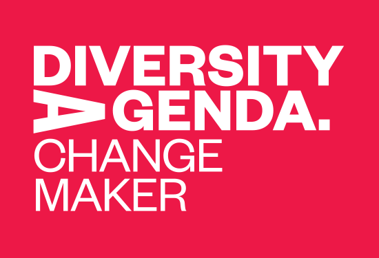 Diversity Agenda logo followed by text reading Change Maker in white text on red background