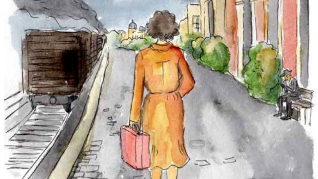 A watercolour drawing of a woman holding a small suitcase, dressed in a mustard '50s style dress, standing on a train platform. The train has already pulled away.