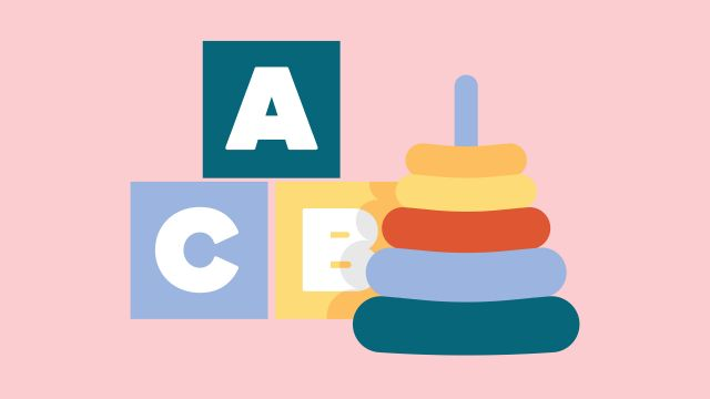 Animation of building blocks with letters on them next to a ring stack children's toy.