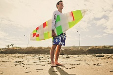 Max Robotham with his 3D printed surfboard.