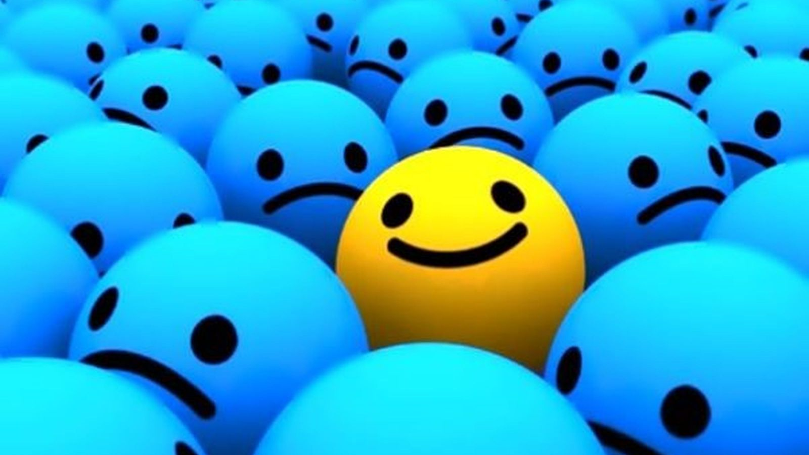 A sea of depressed blue sad faces, with one yellow happy face sitting on top