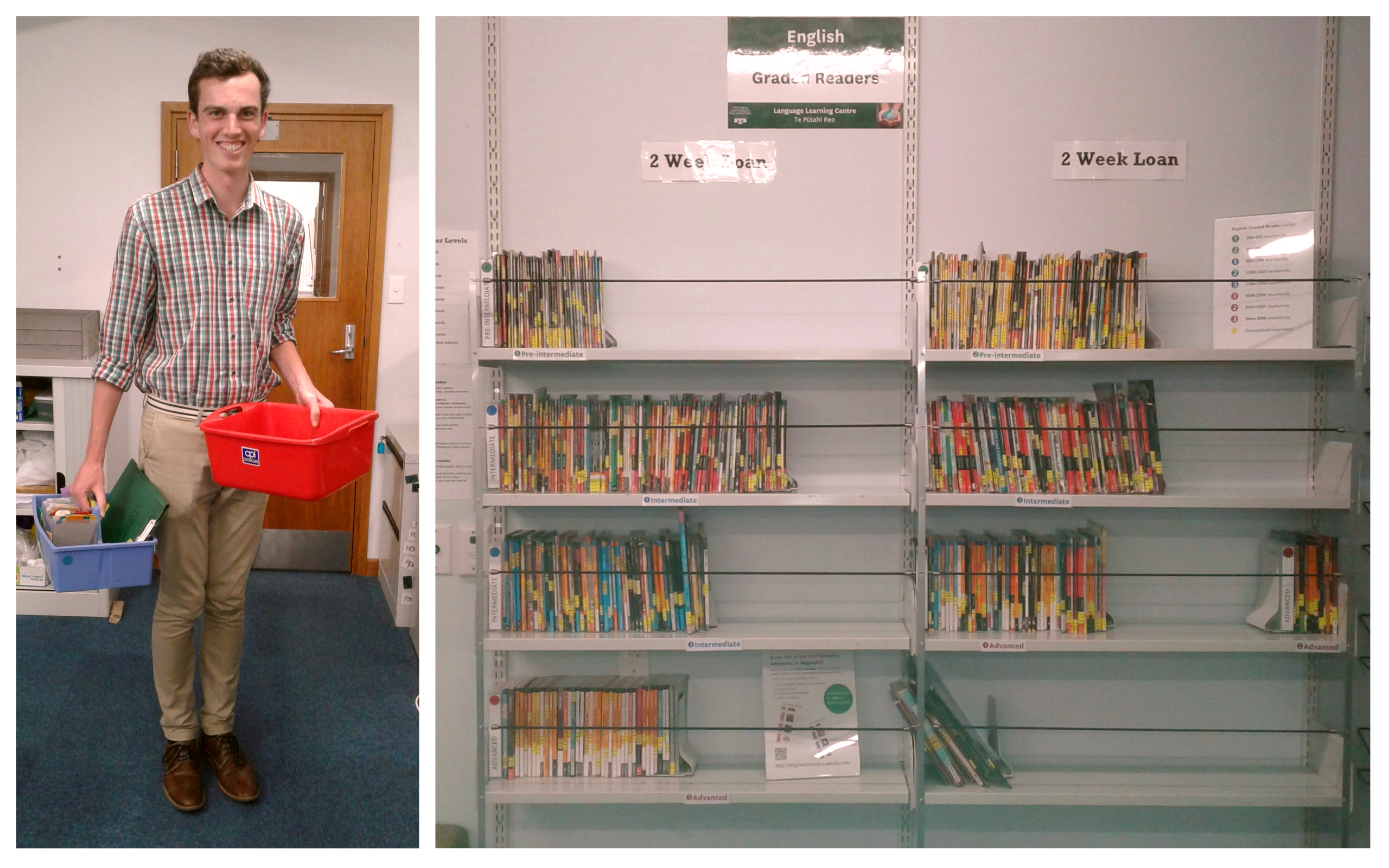 Left: Alastair Baldwin (LALS) with the baskets where carded graded readers used to be returned. Right: the combined LLC/ELI graded reader collection in its old/new location.
