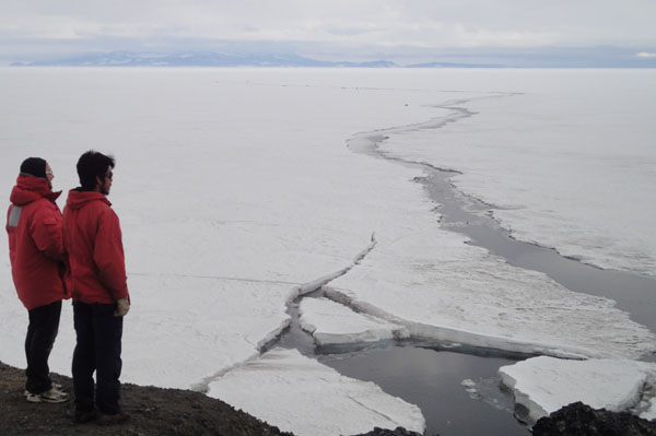 Late summer sea ice near the coast of McMurdo Station. Cracks develop in the sea ice and lead to seasonal break up c. Rory Hart 2011-2012