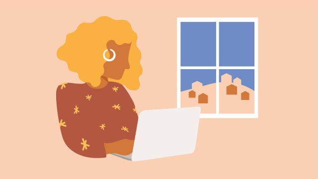 Animation of a person sitting on a laptop with a window behind them.