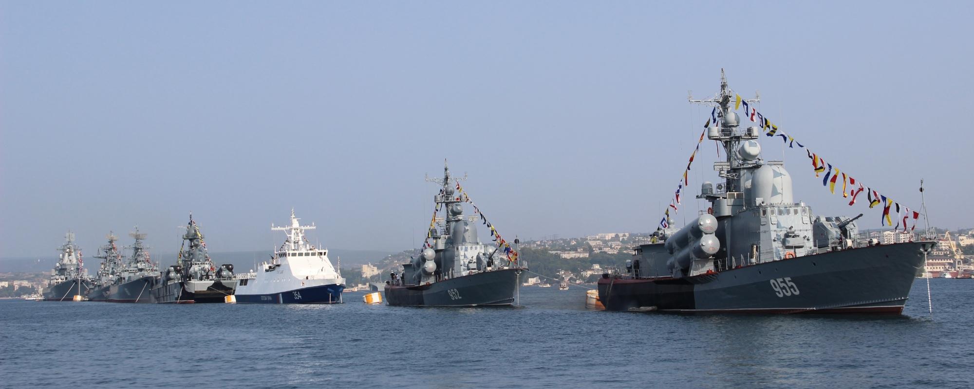 A line of military naval vessels in Sevastopol