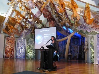 Prof Dorthe Dahl-Jensen presenting her talk at Te Papa