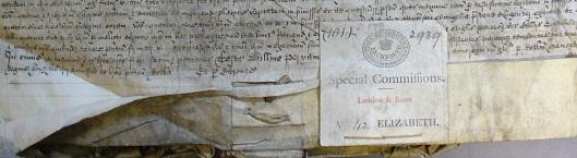 A close up image of an Elizabethan manuscript.