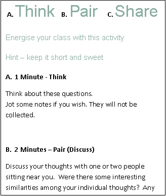 Descriptive chart of the think pair share principles