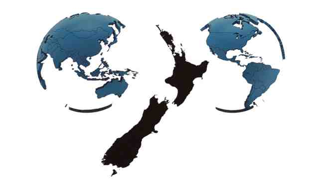 New Zealand map beside global maps