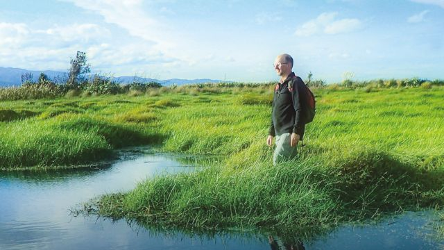 A man stands in a vast marsh, with water in the foreground and long green grass.